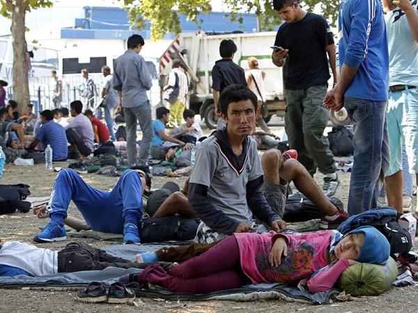 KOC12 BELGRADO (SERBIA), 07/08/2015.- Numerosos inmigrantes sirios, paquistaníes y afganos, descansan antes de partir desde Serbia a distintos países de la Unión Europea, en Belgrado, Serbia, hoy, 7 de agosto de 2015. Europa está desde hace semanas en vilo por la crisis de la inmigración, con los inmigrantes que intentan cruzar el Eurotunel, por una parte; y aquellos que tratan de atravesar el Mediterráneo y desembarcar en Italia y Grecia, principalmente. EFE/KOCA SULEJMANOVIC